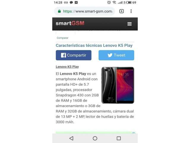 Lenovo K5 Play 32gb Doble Cámara