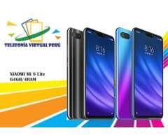 XIAOMI Mi 8 LITE 64GB4RAM Nuevo Cómodo y Sellado SOMOS TELEFONÍA VIRTUAL PERÚ